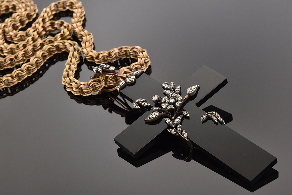 Item #4991 Black Onyx Cross Wrapped in Diamond Vines 4991