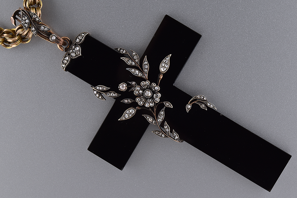Black Onyx Cross Wrapped in Diamond Vines