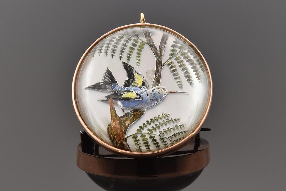 Item #4503 Hummingbird Reverse Painting Pin 4503