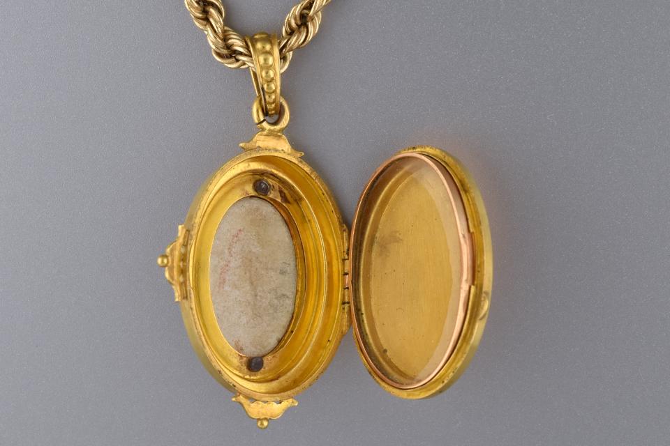 Victorian Enamel Painting Locket Pendant