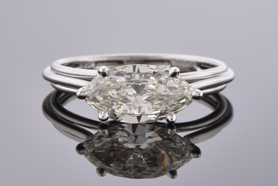 East West Marquise Diamond Ring Handmade In-House