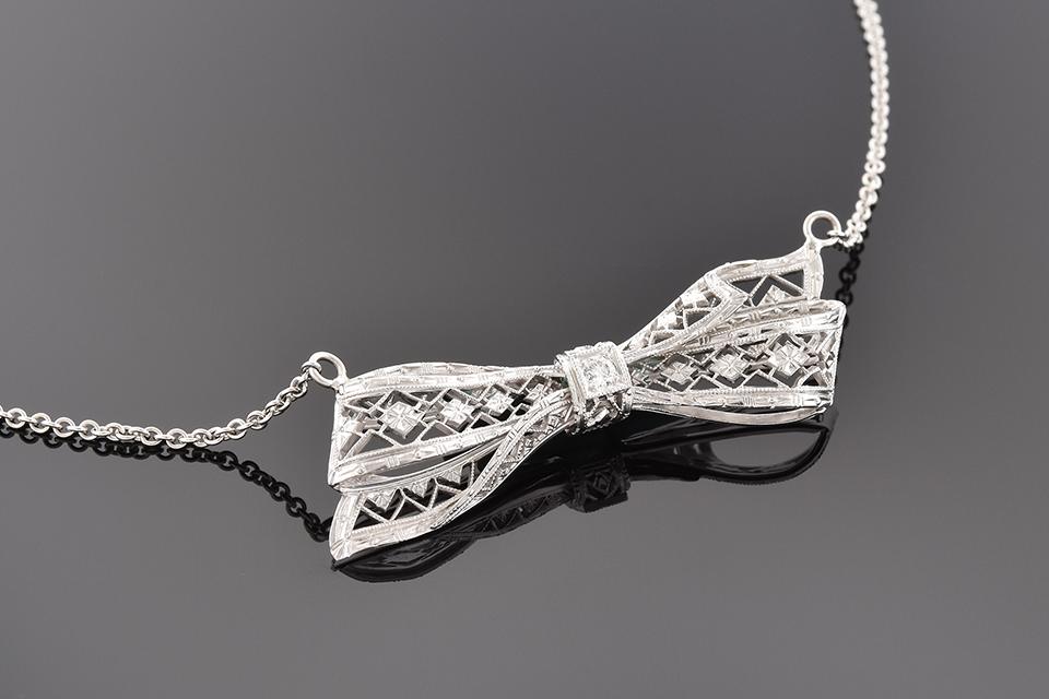 Item #2846 Art Deco Diamond Bow Conversion Necklace 2846