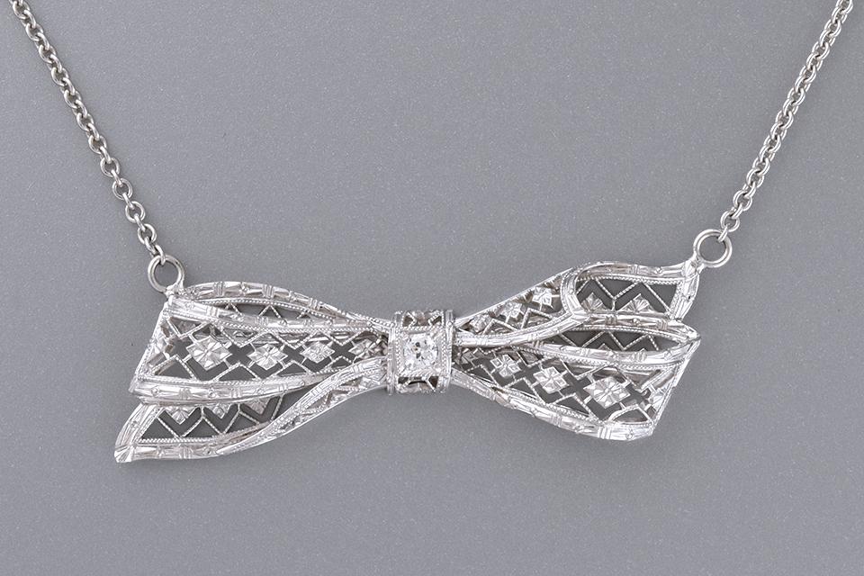 Art Deco Diamond Bow Conversion Necklace
