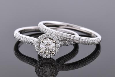 Item #6930 Diamond Halo Bridal Set with Micro Pave Diamond Accents