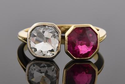 Item #6933 Antique Cushion Cut Diamond and Ruby Split Top Ring