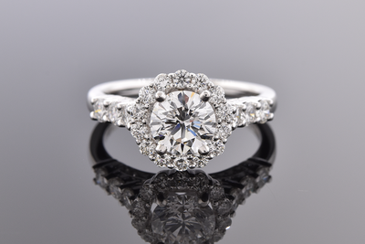 Item # 7236 Cathedral Style Halo Diamond Engagement Ring