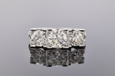 Art Deco Three Stone Square Set Diamond Ring