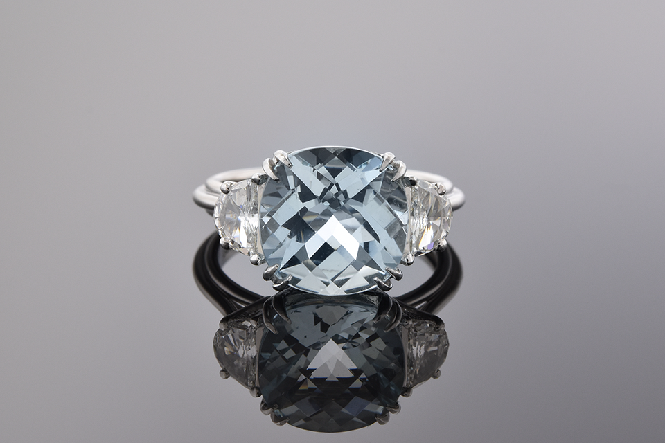 Item #7264 Checkerboard Cut Aquamarine and Diamond Three Stone Ring 7264