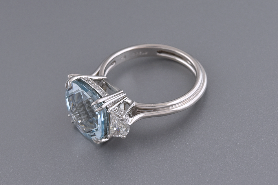 Checkerboard Cut Aquamarine & Diamond Three Stone Ring