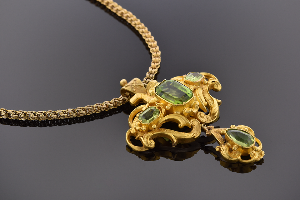 Item #4537 Fine Georgian Pendant with Peridot 4537