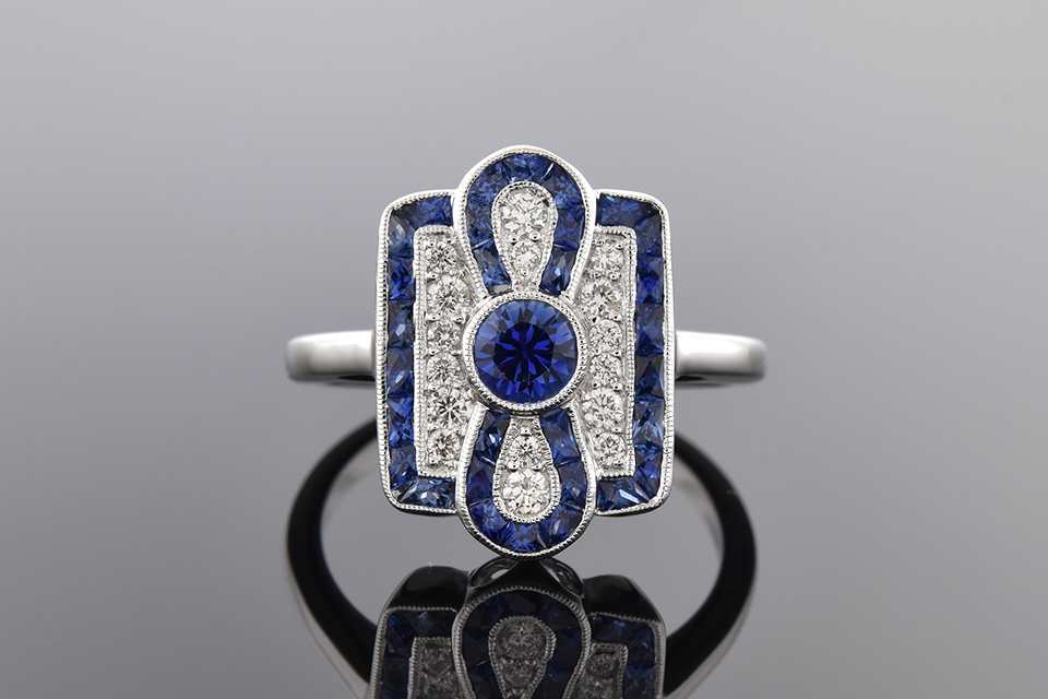 Item #2872 Sapphire and Diamond Ring with Infinity Design 2872