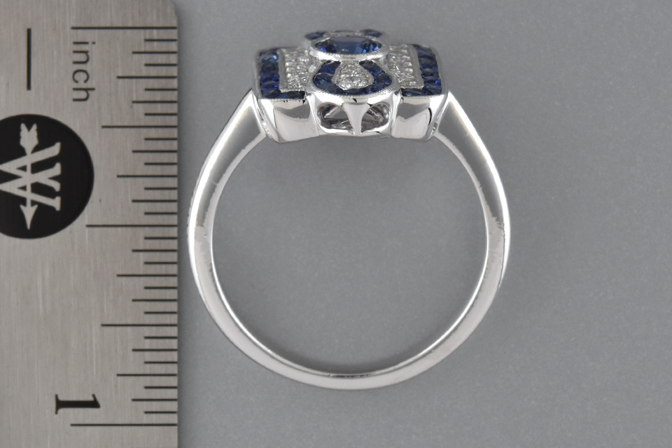 Sapphire and Diamond Ring with Infinity Design