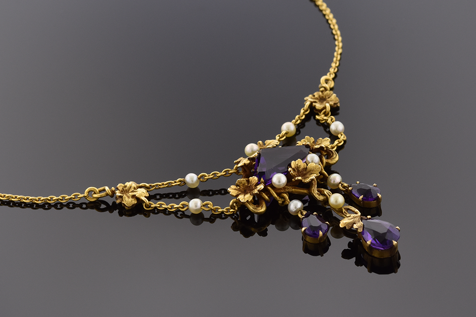Item #4469 Art Nouveau Amethyst and Pearl Necklace 4469
