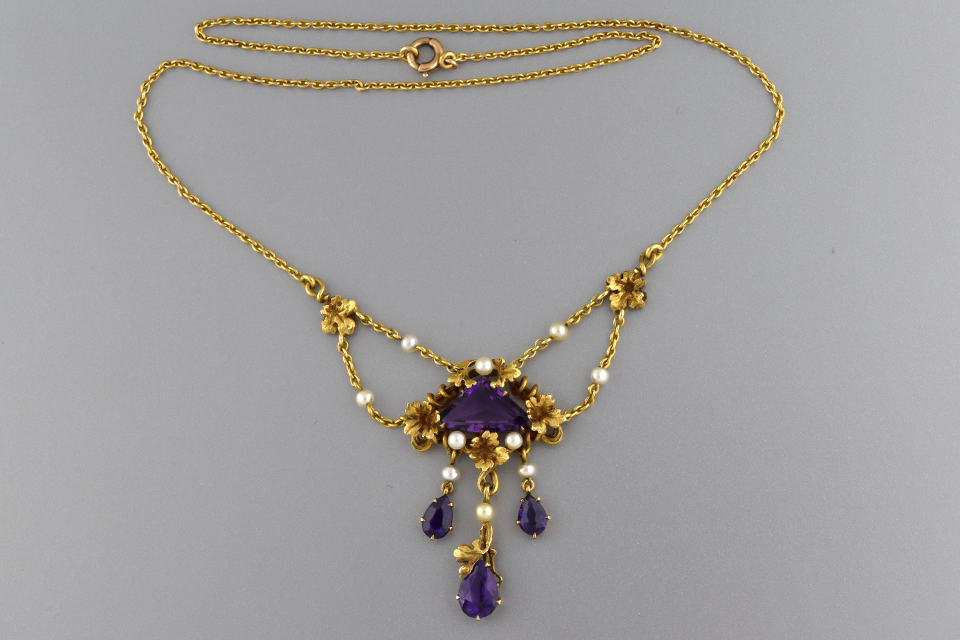 Art Nouveau Amethyst and Pearl Necklace