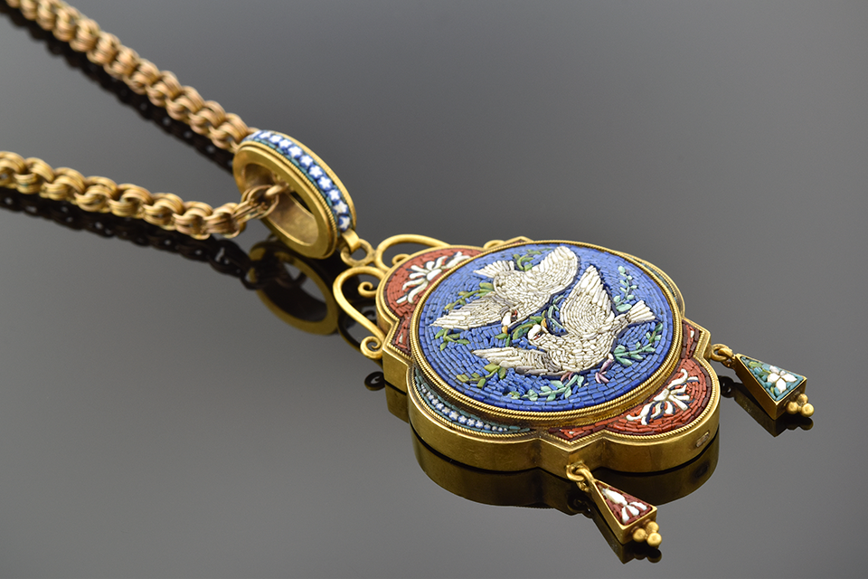 Item #5158 Micro Mosaic Pendant with Pair of Doves 5158