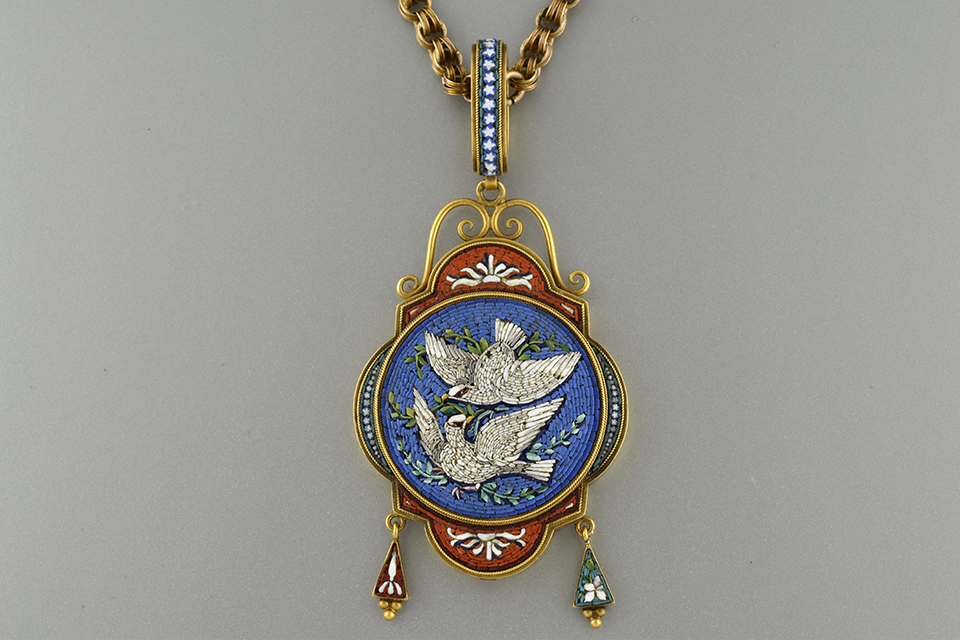 Micro Mosaic Pendant with Pair of Doves