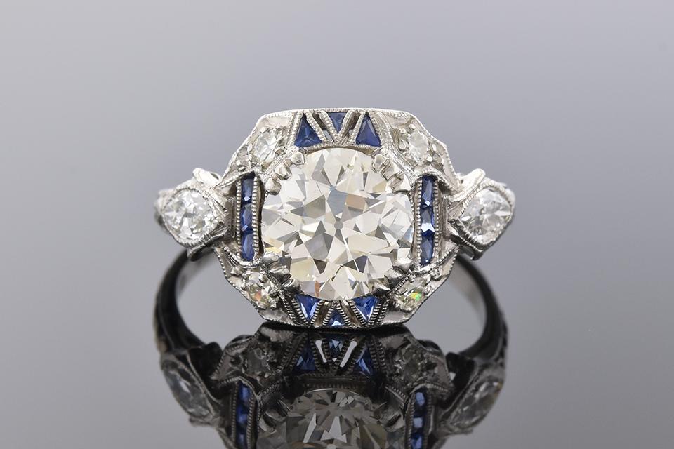 Item #7296 Unique Sapphire Detailed Art Deco Diamond Ring 7296