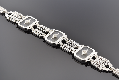 Camphor Glass and Diamond Art Deco Bracelet