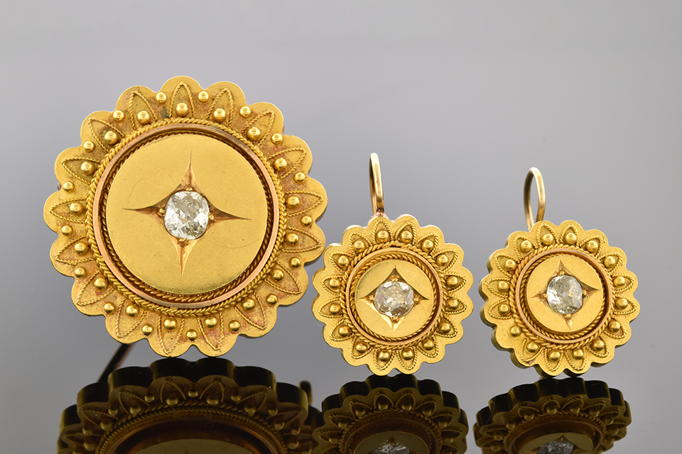 Item #9925 Victorian Diamond Brooch And Earring Suite