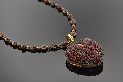 Georgian Garnet Heart Necklace