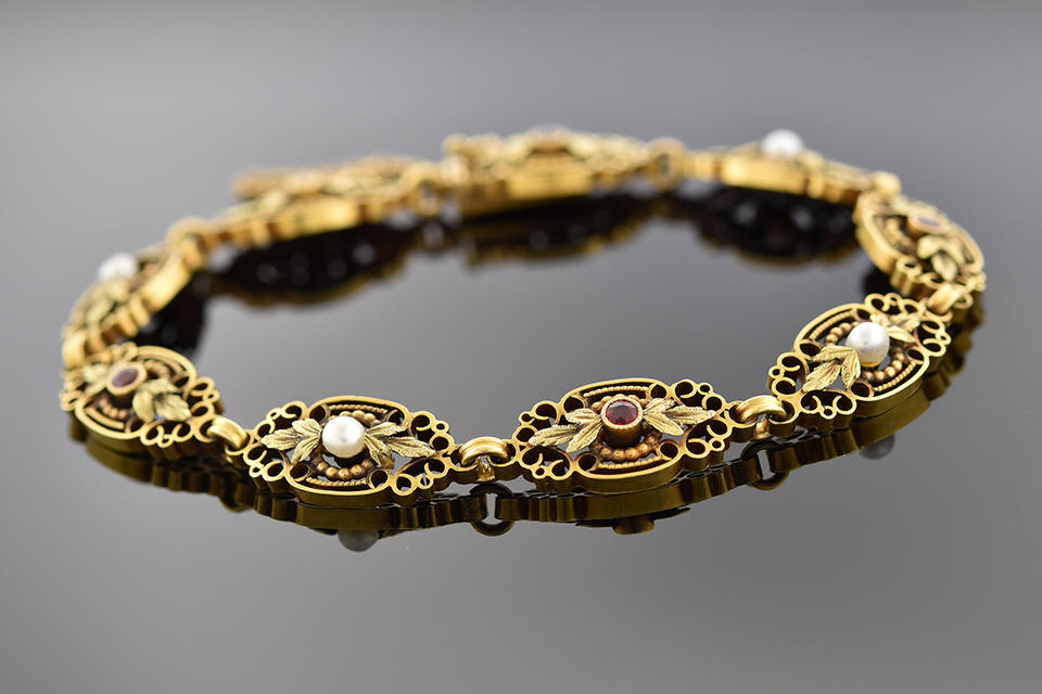 Item #10559 Late Victorian Ruby and Pearl Bracelet