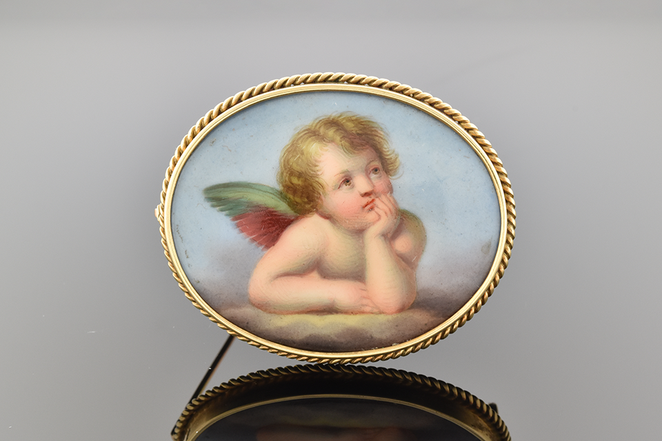Item #5013 Victorian Cherub Brooch with Rope Frame 5013