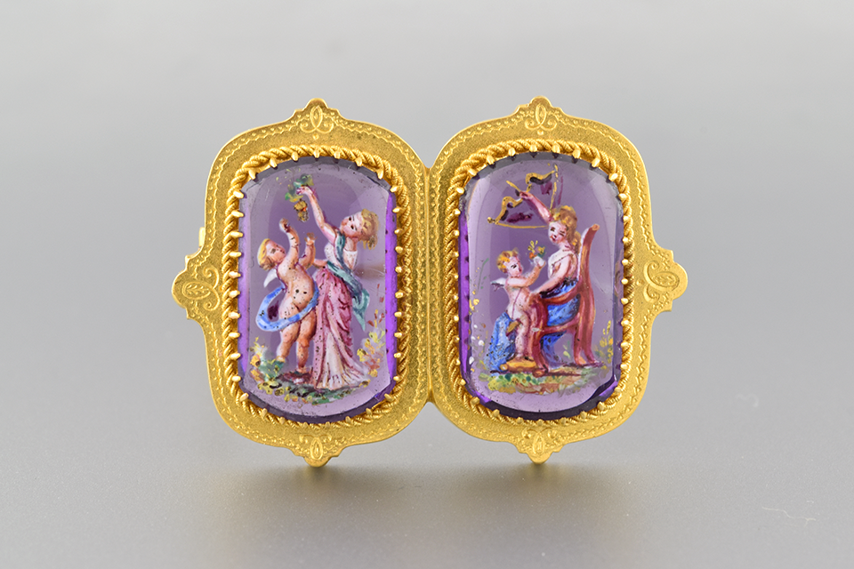 Hand Painted Antique Amethyst Brooch