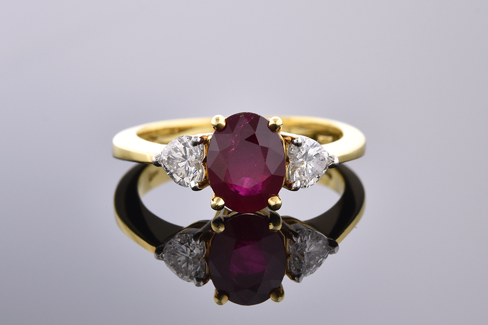 Item #4113 Ruby Ring with Heart Shaped Side Diamonds 4113