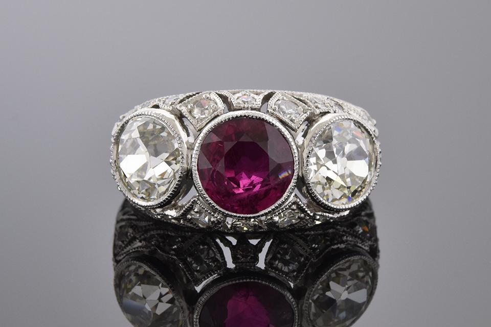 Item #10005 Ruby and Diamond Art Deco Three Stone Ring 10005