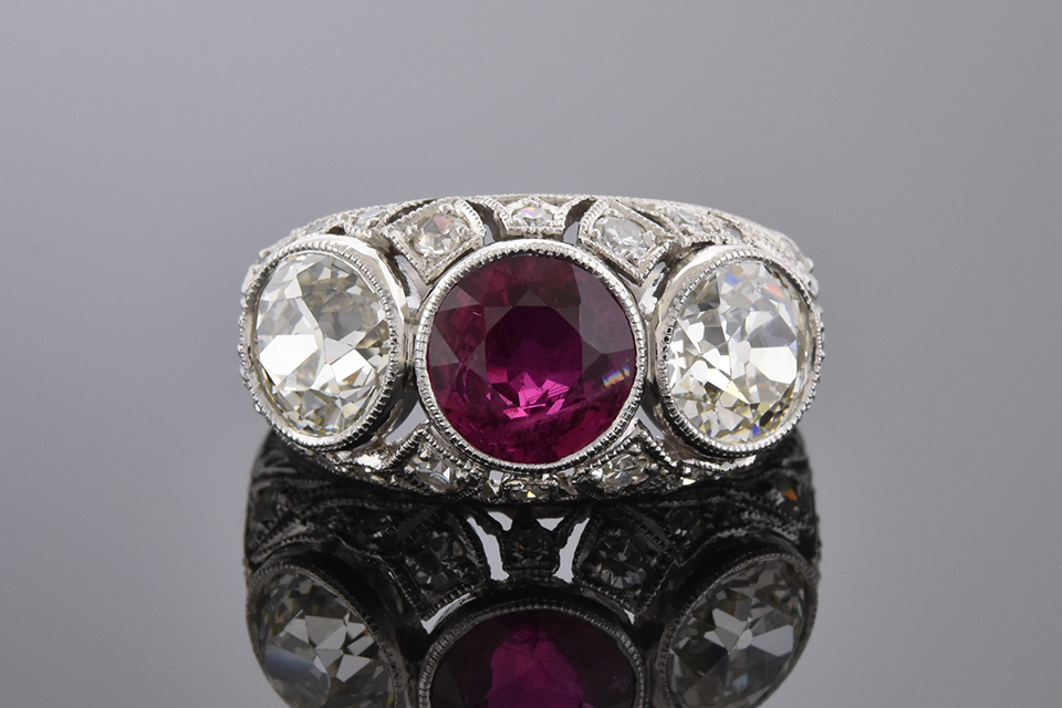 Ruby and Diamond Art Deco Three Stone Ring