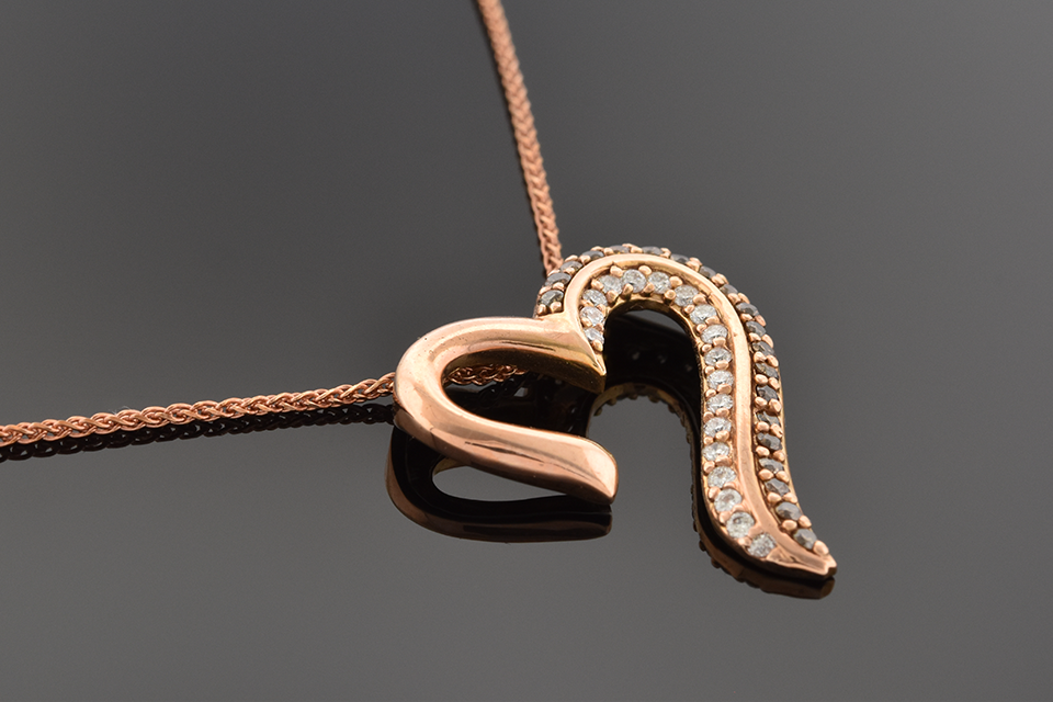 Item #1532 Rose Gold Colored Diamonds Heart Pendant 1532