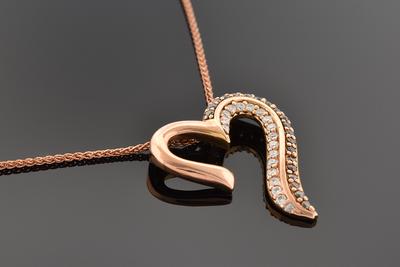 Rose Gold Colored Diamonds Heart Pendant