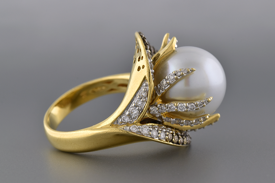 Floral Pearl And Diamond Ring