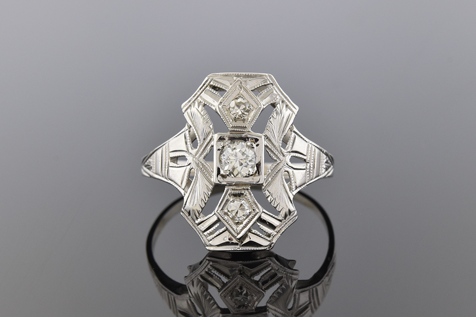 Item #1078 Low Profile Art Deco Diamond Ring 1078