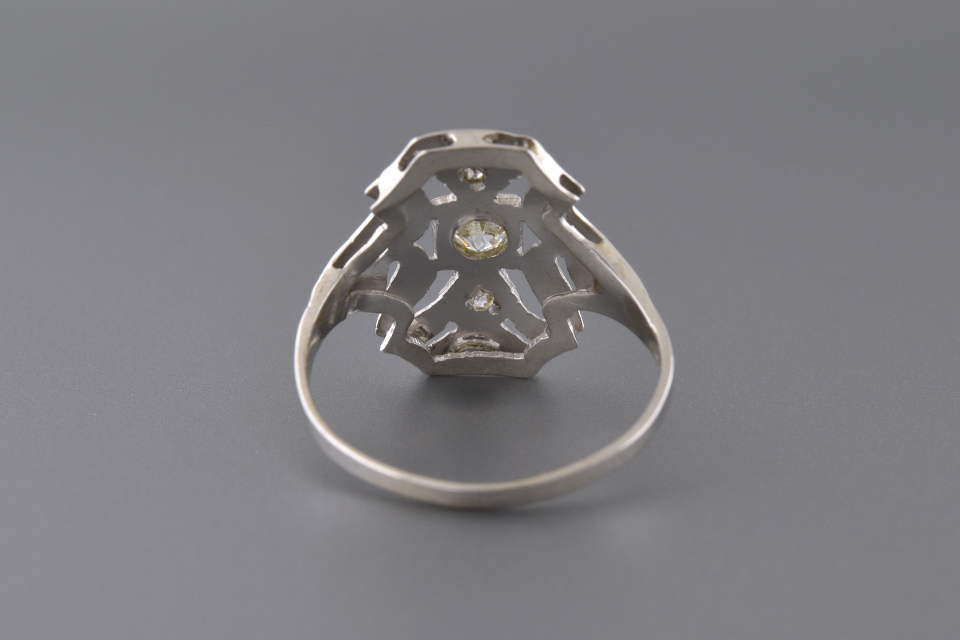 Low Profile Art Deco Diamond Ring