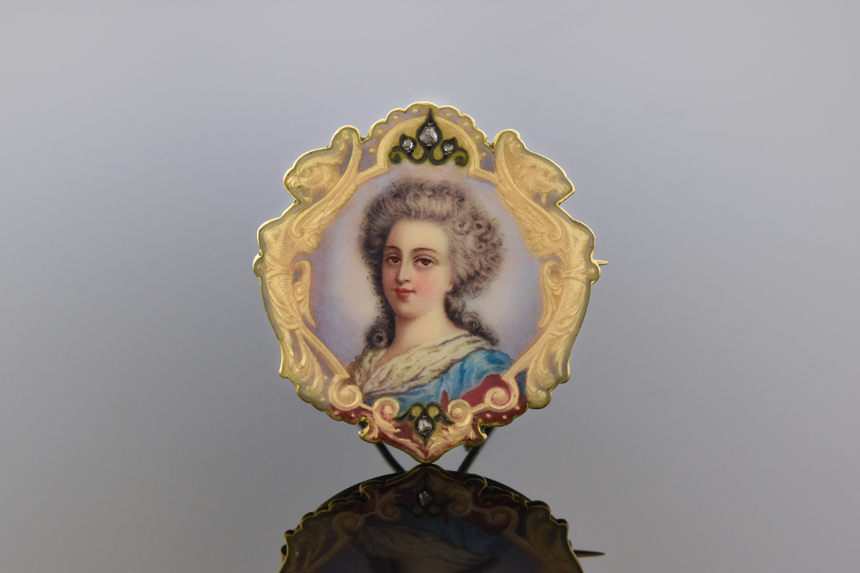 Item #1515 Portrait of a Lady: Victorian Enamel Brooch 1515