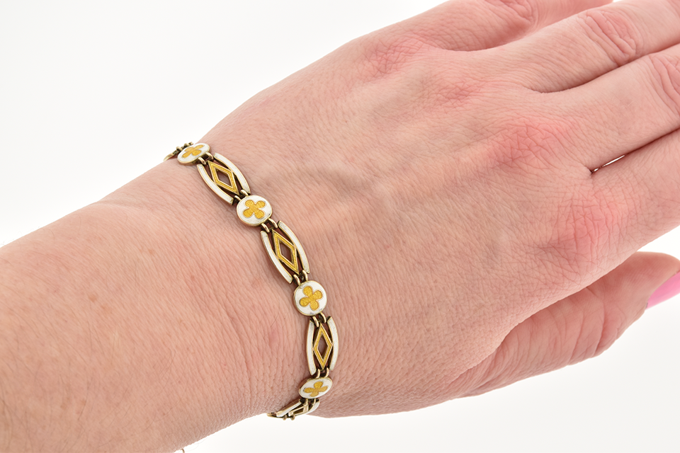 White and Yellow Enamel English Bracelet