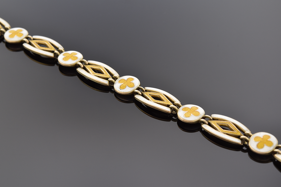 Item #1510 White and Yellow Enamel English Bracelet 1510