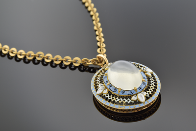 Victorian Enamel and Moonstone Pendant