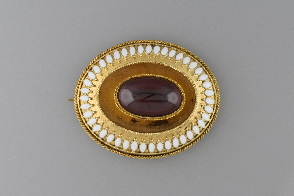 Victorian Garnet Pin with Enamel