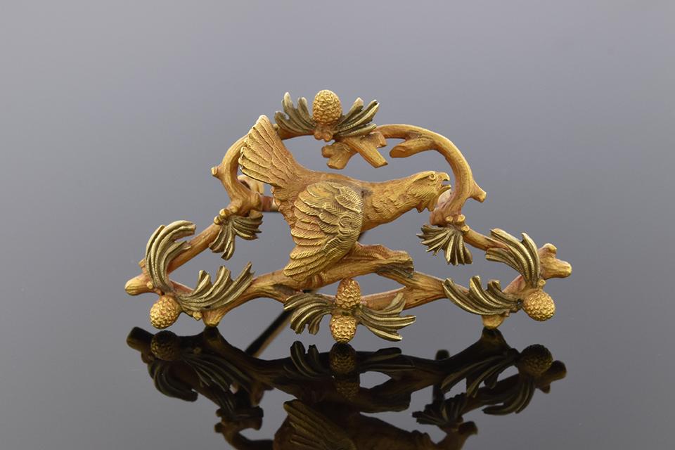 Item #M108 Art Nouveau Bird Pin Two Tone