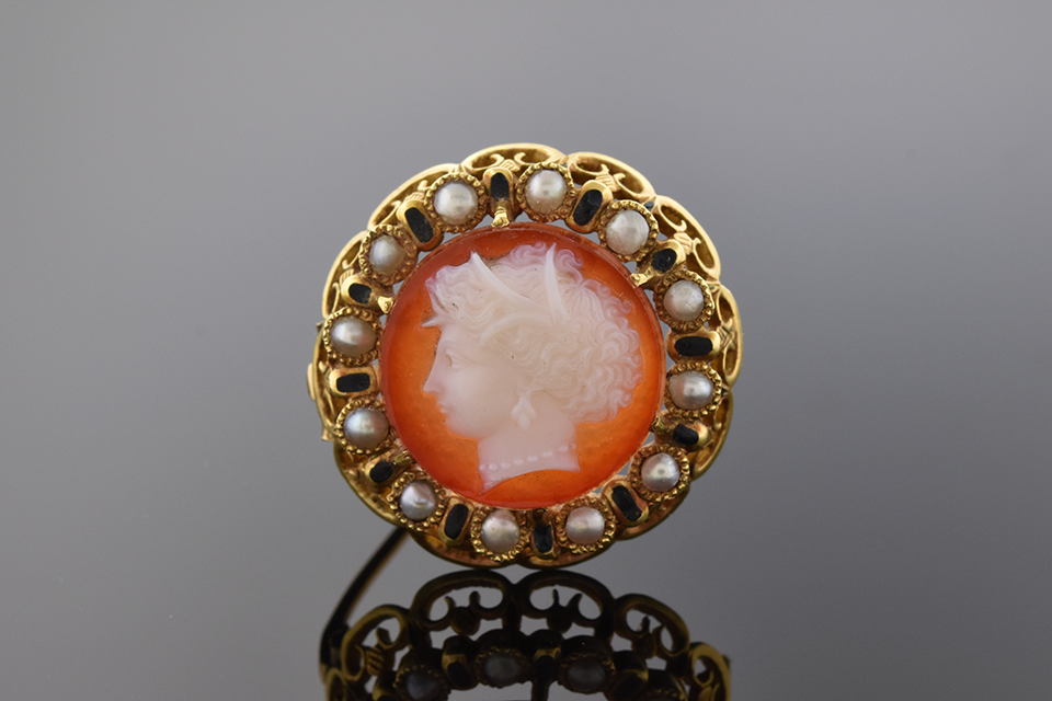 Item #1512 Round Cameo Pin with Pearl and Enamel 1512