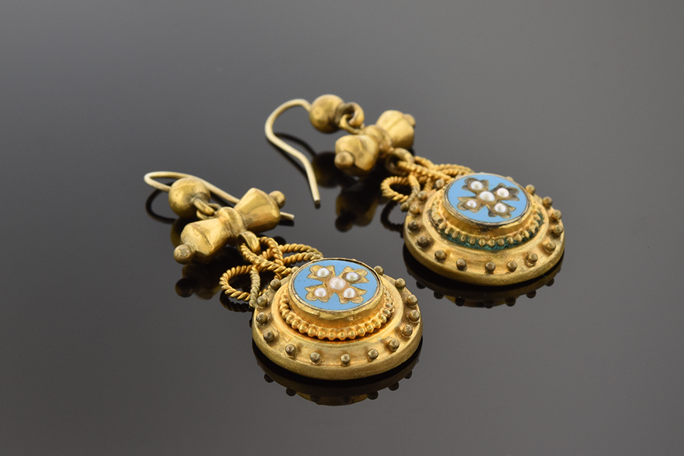 Item #10475 Victorian Pearl and Turquoise Enamel Dangle Earrings 10475