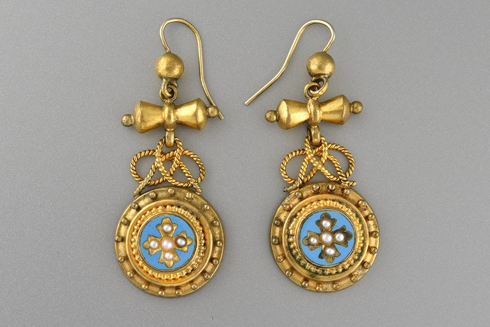 Victorian Pearl and Turquoise Enamel Dangle Earrings