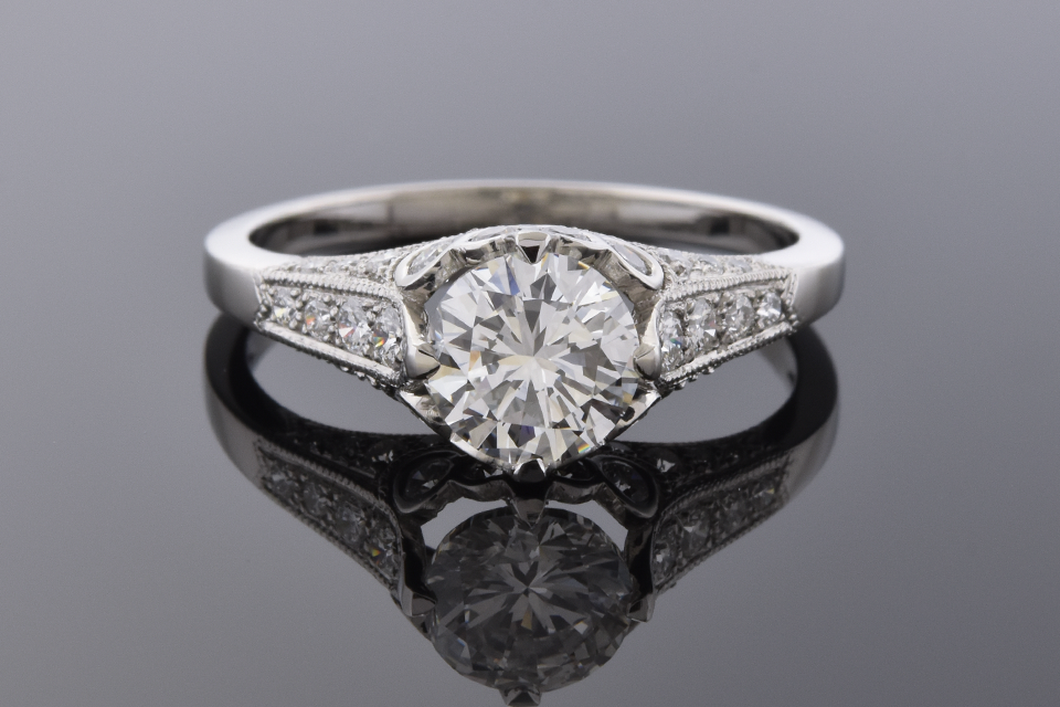 Item # 4762 Engagement Ring with Bezel Set Diamond Accents 4762