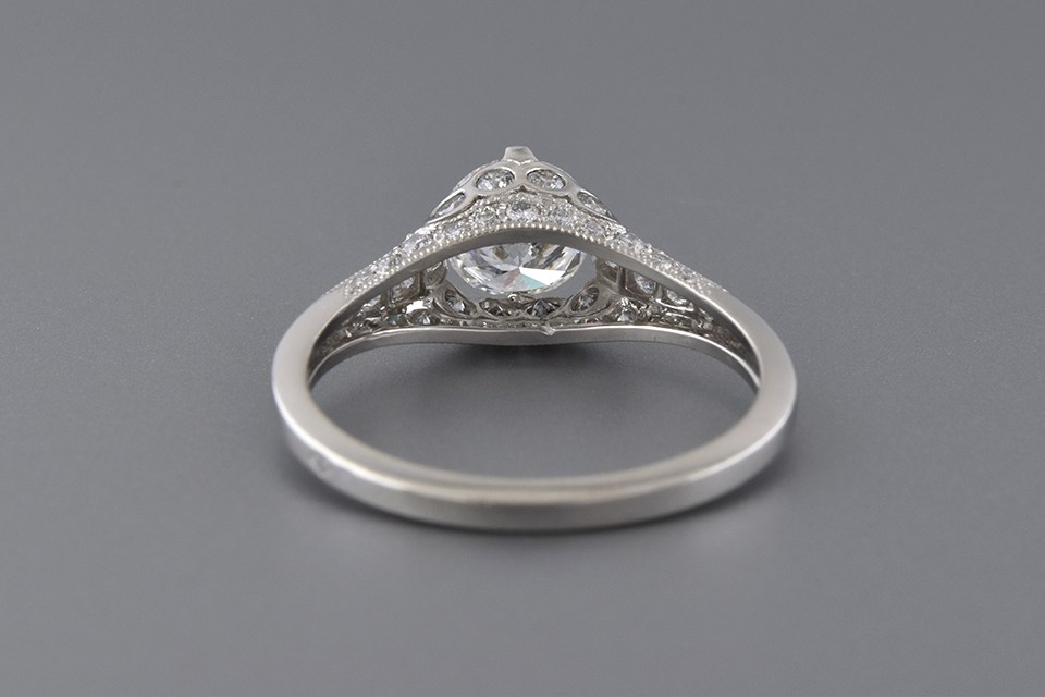 Engagement Ring with Bezel Set Diamond Accents