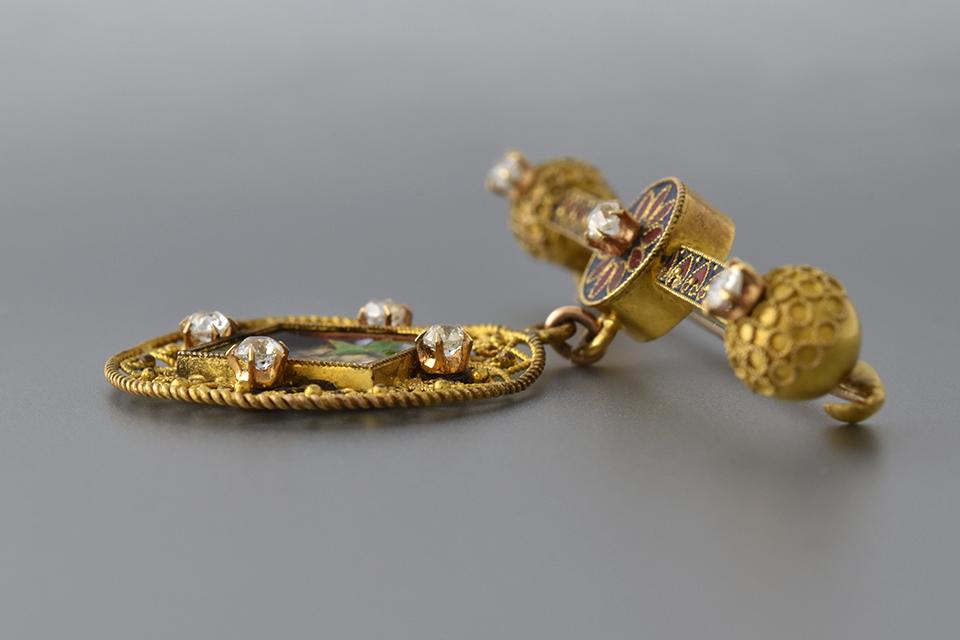 Etruscan Enamel Brooch Detailed Wire Work