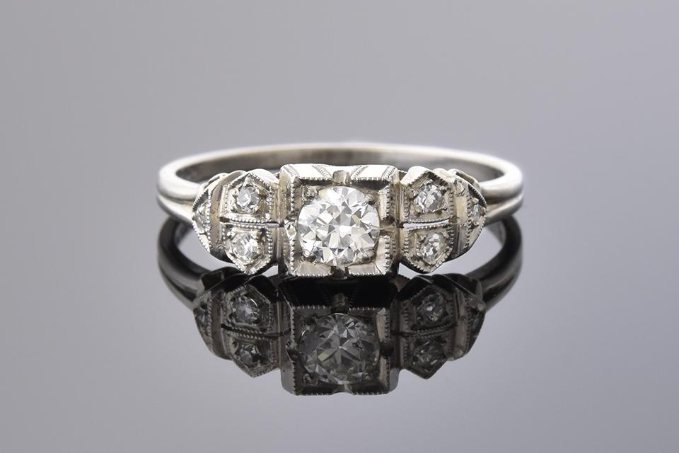 Item #1434 Art Deco Beauty: Handmade Diamond Ring 1434