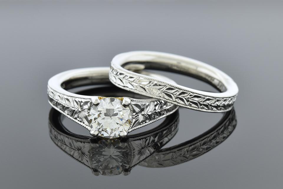 Item #5100 Carved Band Platinum Wedding Set 5100