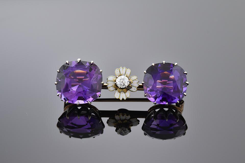 Item #11041 Amethyst and Diamond Bar Brooch with Enamel Flower 11041